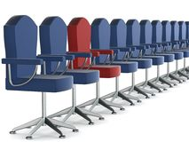 Row office armchairs on a white background. Royalty Free Stock Image