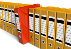 Row of office folders. Isolated on white background Royalty Free Stock Photos