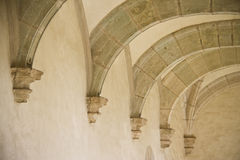 Row of old ancient ceiling arches. In Oaxaca museum, Mexico Stock Photos