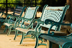 Row of old benches Royalty Free Stock Image