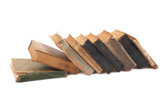 Row of old books on white background Royalty Free Stock Photography