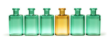 Row of old bottles isolated Royalty Free Stock Image