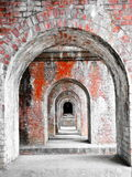 Row of old brick arch walls Stock Images