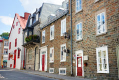 Row of old brick houses. Beautiful old row houses in historical Old Quebec city stock images