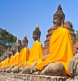 A row of old Buddha statues Royalty Free Stock Image