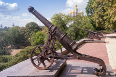 Row of old cannons on the wall of  Chernihiv, Ukraine Stock Photo