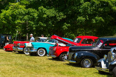 Row of old classic cars. Vintage cars parked at the annual Gravenhurst car show at the Gull Lake Park Royalty Free Stock Images