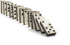Row of old dominoes. On a white background Royalty Free Stock Photos