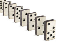 Row of old dominoes Royalty Free Stock Photos