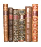 Row of old leather bound books stock photo