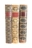 Row of old leather bound books Royalty Free Stock Photo