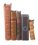 Row of old leather bound books and a hard drive Royalty Free Stock Photography