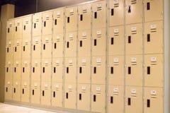 Row Of Old Lockers In School Hallway Stock Images