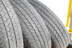 Row of old car tyre. Row of old obsolete car tyre Royalty Free Stock Photos