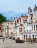A row of old Renesaince houses in Telc, Czech Republic. TELC, CZECH REPUBLIC - MAY 10, 2013: A row of old Renesaince houses. One of the most beautiful markets Stock Photo