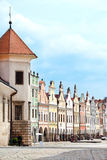 A row of old Renesaince houses in Telc, Czech Republic. TELC, CZECH REPUBLIC - MAY 10, 2013: A row of old Renesaince houses. One of the most beautiful markets Royalty Free Stock Photography