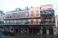 Row of old Spanish-style buildings in New Orleans' French Quarter Royalty Free Stock Photos