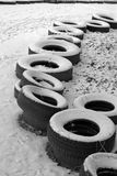 The row of the old tires Royalty Free Stock Photo