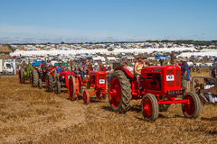 A row of old vintage tractors at show Royalty Free Stock Photography