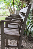 row of old wood chair in garden Stock Photos