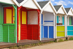 Row of old wooden beach huts Stock Image