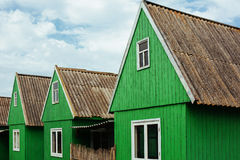 Row of old wooden cottages Royalty Free Stock Photography
