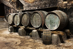 Row of old wooden oak barrels in a cellar Royalty Free Stock Images