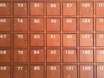Row of old wooden post boxes in Thailand Royalty Free Stock Images