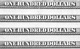 Row of one hundred dollars banknotes Stock Photo