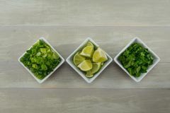 Row of Onion Lime and Cilantro Stock Images