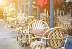 Row of Open Air Restaurant Tables in One Line Together on NYC St Stock Images