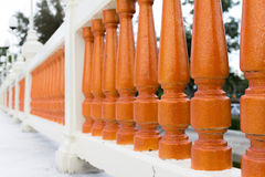 Row of orange color balustrade Royalty Free Stock Photography