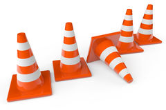 Row of orange plastic traffic cones Royalty Free Stock Photos
