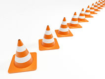 Row of orange traffic cones Royalty Free Stock Photography