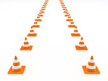 Row of orange traffic cones Stock Photos
