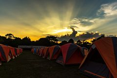 Row of orenge rental tents for toursit on the campground. Of Phu Kradung National Park at twilight time Stock Photography