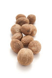 Row of Organic Nutmeg Seed. Royalty Free Stock Image