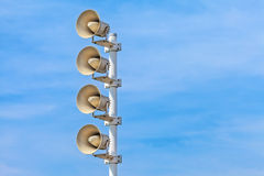 Row of outdoor megaphones Royalty Free Stock Photography