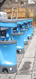 Row of Outdoor Portable Hand Sanitizer Stations Wash Hand Royalty Free Stock Photo