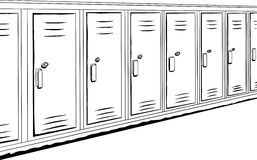 Row of Outlined Lockers Stock Photo