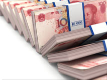 Row of packs of yuan. Lots of cash money. Stock Image