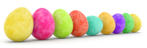 Row of painted easter eggs Royalty Free Stock Photo