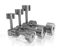 Row of Pairs of Steel Dumbbell in Different Size Stock Images