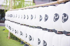 Row of paper lanterns Japanese style. At the garden Royalty Free Stock Photography