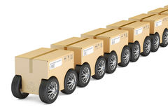 Row from parcels with wheels, fast delivery concept. 3D renderin Royalty Free Stock Photo
