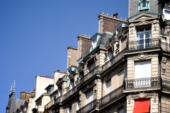Row of Parisian Flats. Beautiful Row of Parisian Flats in France Royalty Free Stock Photo