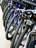 Row of parked bicycles Stock Photography