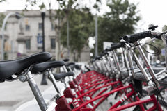 Row of parked bicycles Stock Photos