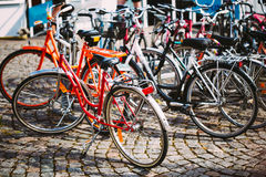 Row Of Parked Bicycles. Bicycle Parking In Big Royalty Free Stock Photo