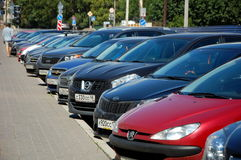 A row of parked cars Royalty Free Stock Image